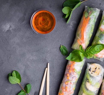 How to make fresh spring rolls rice paper with vegetables & fruits ?